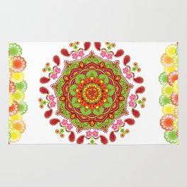 Zest For life Yellow Red Orange Green Floral Mandala Design Rug