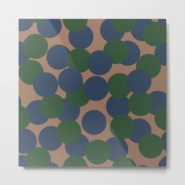 Green and Blue Dots on Salmon Metal Print