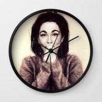 bjork Wall Clocks featuring Mommie Bjork by Wanker & Wanker