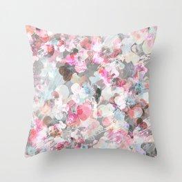 Pastel pink pansies splatter Throw Pillow
