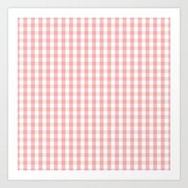 Large Lush Blush Pink and White Gingham Check Art Print