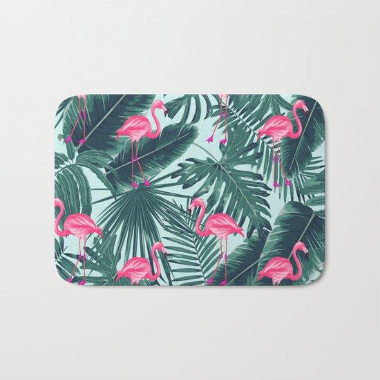 tropical pink flamingo Bath Mat