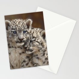 Snow Leopard Cubs - Playmates Stationery Cards