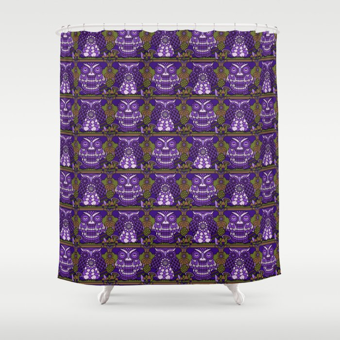 A Parliament Of Owls Plum Shower Curtain By Pilgrimlee