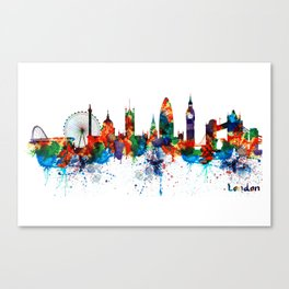London Watercolor Skyline Silhouette Canvas Print