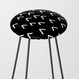 Black and White Minimalist Arrow Mountain Pattern Counter Stool