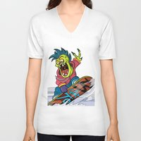 snowboarding V-neck T-shirts featuring Snowboarding by Brain Drain Fox