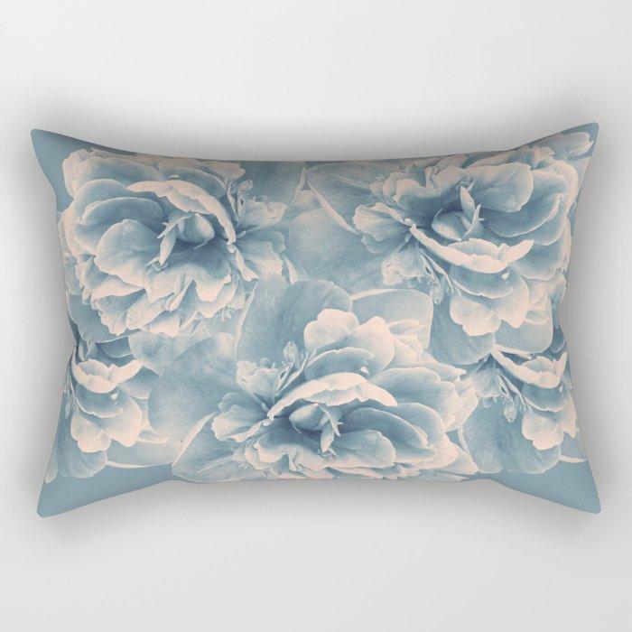 Blush Blue Peony Flower Bouquet #1 #floral #decor #art #society6 Rectangular Pillow