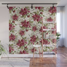 Poinsettia Pattern Wall Mural