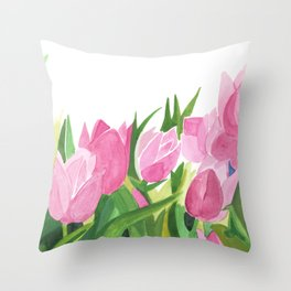 Spring is Near - Pink Tulips Throw Pillow