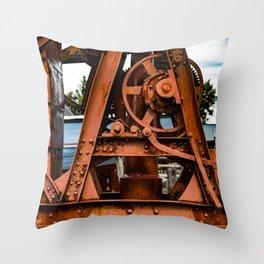 The Old Rusty Ship Crane Throw Pillow