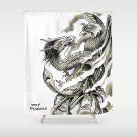 fitzgerald Shower Curtains featuring Dragon Phoenix Tattoo Art Print by Cathy FitzGerald