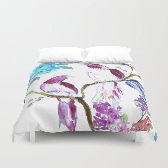 bird tropics floral Duvet Cover