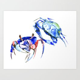 Blue Crab sea world seafood restaurtant kitchen wall art crab painting Art Print