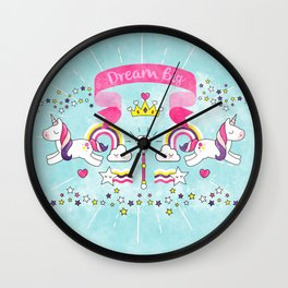 Dream Big Unicorn Carousel Wall Clock