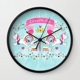 Dream Big Unicorn Carousel Wall Clock
