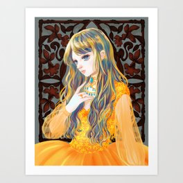 Golden girl with flower eyes Art Print