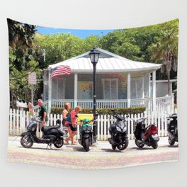 Motor Bikes and Picket Fence Wall Tapestry