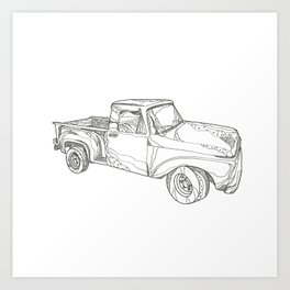 Vintage Pickup Truck Doodle Art Art Print