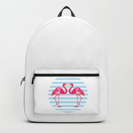 Flamingo, Flamingo t-shirt, watercolor poster, pink in blue stripes, circle Backpack