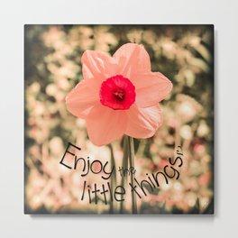 Spring Soft Pink Daffodil Blossom Metal Print