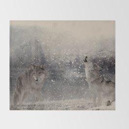 Mountain Wolves Throw Blanket