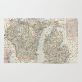 Vintage Map of Michigan and Wisconsin (1891) Rug