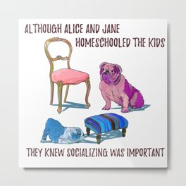 animals with chairs #3 Homeschooling Metal Print