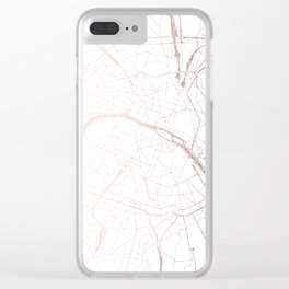 Paris France Minimal Street Map - Rose Gold Glitter Clear iPhone Case