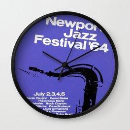 1964 Newport Jazz Festival Vintage Advertisement Poster Newport, Rhode Island Wall Clock