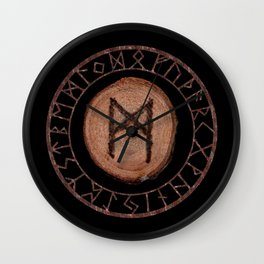 Mannaz - Wooden Celtic Rune of self, individuals, universe, family, loved ones, friends, devoted Wall Clock