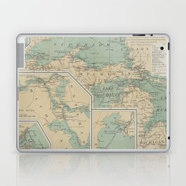 Vintage Great Lakes Lighthouse Map (1898) Laptop & iPad Skin