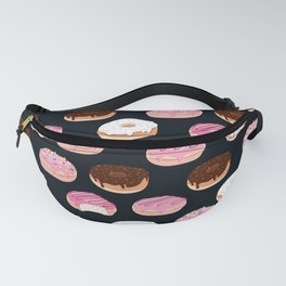 Donuts pattern pink and chocolate in a dark background Fanny Pack