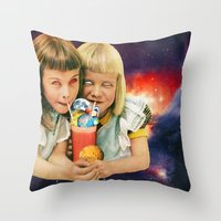 cocktail Throw Pillows featuring Exoplanet Cocktail by Eugenia Loli