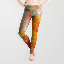 Cheerful Abstract Painting Leggings