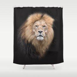 Closeup Portrait of a Male Lion Shower Curtain