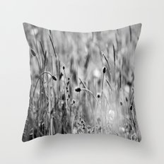 Once in the meadow - photography black&white Throw Pillow