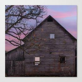 Vintage Barn and Barren Tree - Square Art Canvas Print