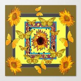WESTERN STYLE BUTTERFLIES-SUNFLOWERS ART Canvas Print