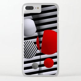 red-white-black -5- Clear iPhone Case