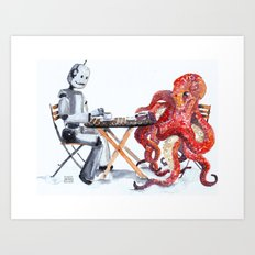 Robot Octopus Coffee Date Art Print