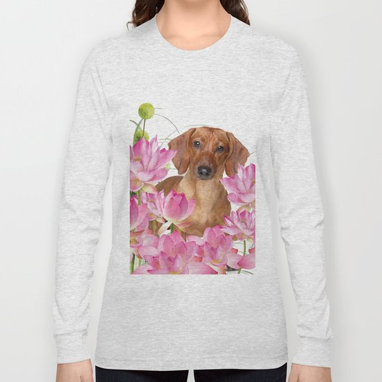 Dog in Field of Lotos Flower by move-art
