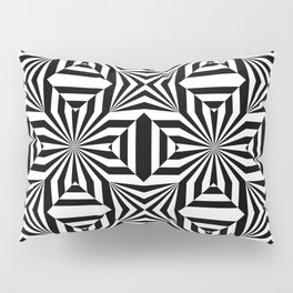 Black and white op art pattern with stars and striped lines Pillow Sham