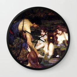 Hylas And The Nymphs John William Waterhouse Wall Clock