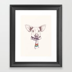 Pig and scarf Framed Art Print