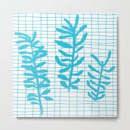 Grid Sprig - aqua blue Metal Print
