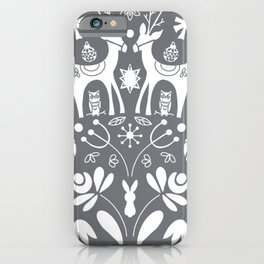 Holiday Folk Art in Gray and White iPhone Case