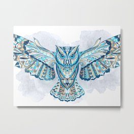 Blue Ethnic Owl Metal Print