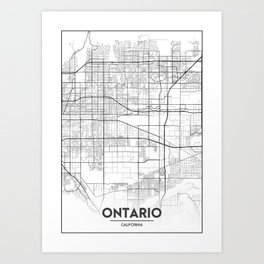 Minimal City Maps - Map Of Ontario, California, United States Art Print