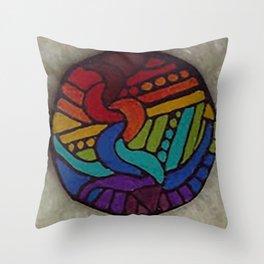 Rainbow Disc Throw Pillow